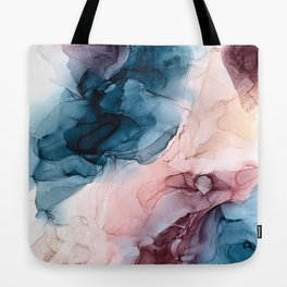 Pastel Plum, Deep Blue, Blush and Gold Abstract Painting Tote Bag