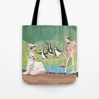 mary poppins Tote Bags featuring Mary Poppins by Lesley Vamos