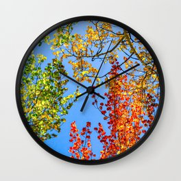 Aspen Color Candy // Green Yellow Red and Orange Fall Leaf Colors Wall Clock