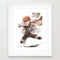 haikyuu Framed Art Prints featuring haikyuu!! Hinata Shouyo print by Lawey