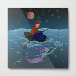 moon, fisherman and mermaid Metal Print