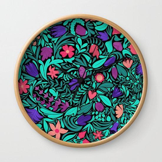 Spring Black Flowers Leaves Illustration Pattern by lafemmeart