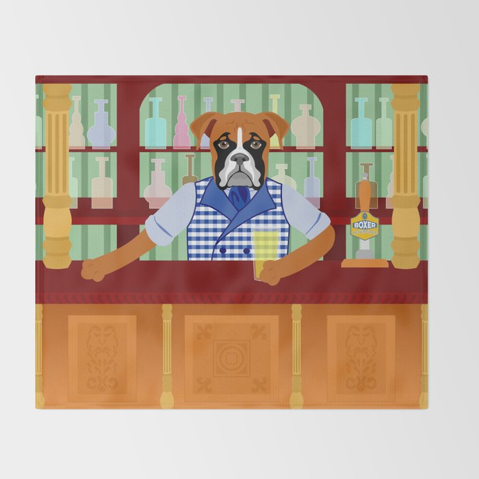 Boxer Dog Beer Pub Throw Blanket