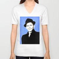 frank sinatra V-neck T-shirts featuring Frank Sinatra - My Way - Pop Art by William Cuccio aka WCSmack
