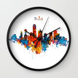 Dallas Watercolor Skyline Wall Clock