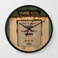 pocket fuel Wall Clocks featuring old pump fuel by frenchtoy