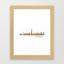 Dubai, emirates, City Cityscape Skyline watercolor art v1 Framed Art Print