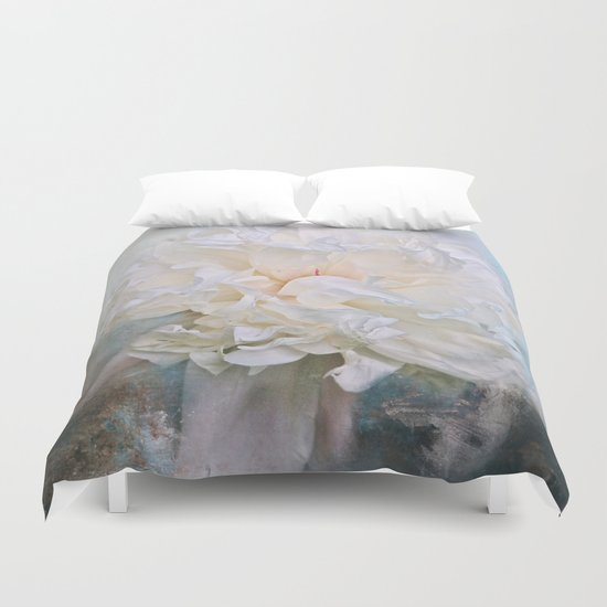Abstract Peony in Blue Duvet Cover