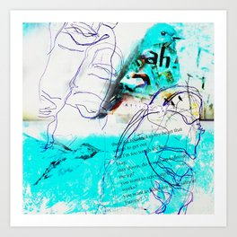 There's a Bluebird in My Art (Ode to Los Angeles, home of Charles Bukowski)... Art Print