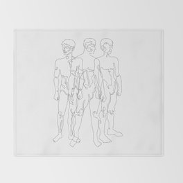 one line male figures Throw Blanket