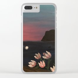 Sunset flowers Clear iPhone Case