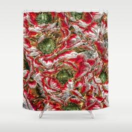 MetalArt Flowers red Shower Curtain