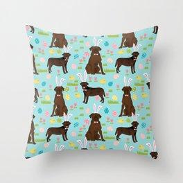 Chocolate Lab labrador retriever dog breed pet art easter pattern costume spring Throw Pillow