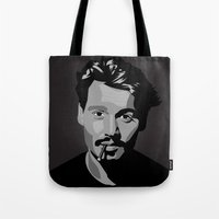 johnny depp Tote Bags featuring Johnny Depp by Tori Kim