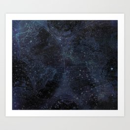 Antique World Star Map Navy Blue Art Print