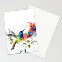 Hummingbird, tropical Foliage, Hawaiian design, tropical, colors Stationery Cards