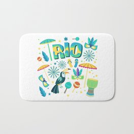 Colorful Rio Carnaval beach party Bath Mat