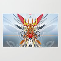 gundam Area & Throw Rugs featuring Monark by Andre Villanueva