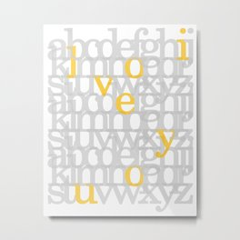 The ABC of i love you. In Yellow Metal Print