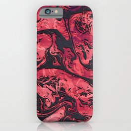 Abstract Red & Black Marble iPhone Case