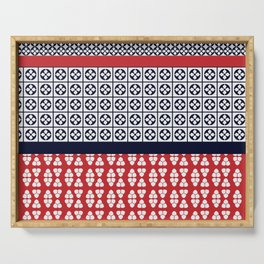 Japanese Style Ethnic Quilt Blue and Red Serving Tray