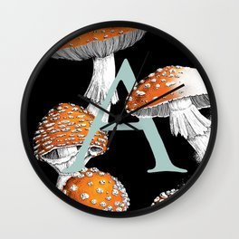 A is for Amanita muscaria Wall Clock