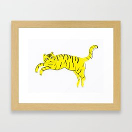 Jumping Tiger Framed Art Print