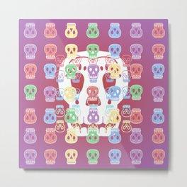 Skulls Pastel Pattern Metal Print