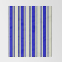 Beige, Dark Grey, Blue, and Slate Gray Colored Pattern of Stripes Throw Blanket