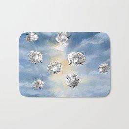 Digital Sheep in a Watercolor Sky Bath Mat