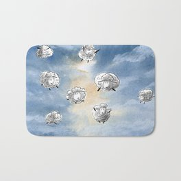 Digital Sheep in a Watercolor Sky Bath Mat