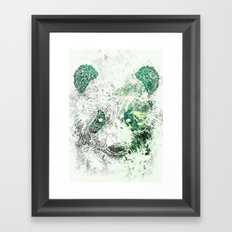 Green Panda Bear Framed Art Print