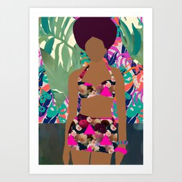 Jungle Pop! Pink triangles Textile Collage Art Print
