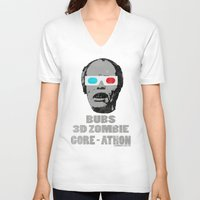 gore V-neck T-shirts featuring Bubs 3D Zombie Gore-athon by Iamzombieteeth Clothing