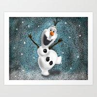 olaf Art Prints featuring Olaf by Ricky_Disneyart