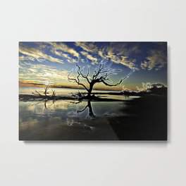 Driftwood Beach with Dead Tree with Digital-Modification Metal Print