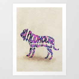 The Bloodhound Typography Art / Watercolor Painting Art Print
