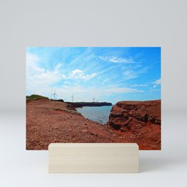 Cliffside Wind Turbines Mini Art Print