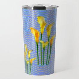 Shades of Blue Yellow Calla Lily Art Travel Mug