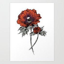 White as Milk, Red as Blood: Flower Art Print