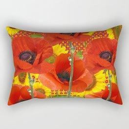 ORANGE POPPIES YELLOW SUNFLOWERS ART Rectangular Pillow