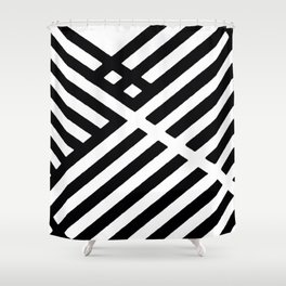 BLACK AND WHITE INTERSECTION PATTERN Shower Curtain