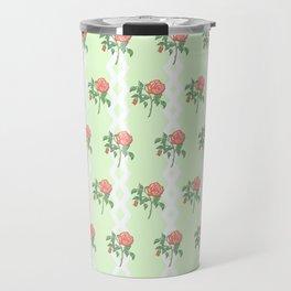 Stem Rose Watercolor Pattern Mint Travel Mug