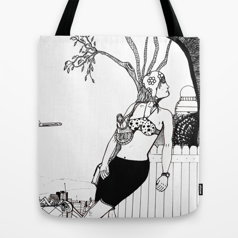 Looking Back Tote Purse by Vargas_art_and_prints (TBG9766094) photo