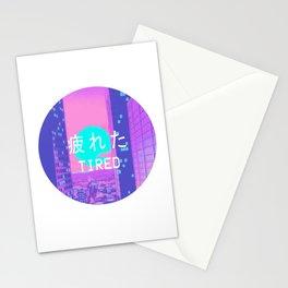 Tired Vaporwave Aesthetic hypnotic Style Gift Sad Vaporwave Design Stationery Cards