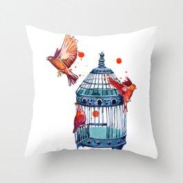 Bird Cage Throw Pillow