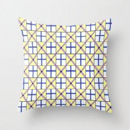 symetric tartan and gingham 1 -vichy, gingham,strip,square,geometric, sober,tartan Throw Pillow