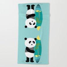 Surf along with the panda. Beach Towel