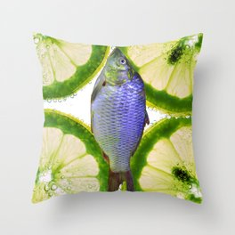 Lime Fish Throw Pillow