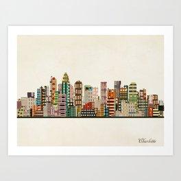 charlotte north carolina skyline Art Print